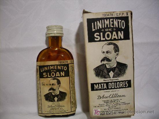 BOTELLA DE LINIMENTO DE SLOAN (Coleccionismo - Botellas y Bebidas - Botellas Antiguas)