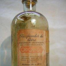 Botellas antiguas: ANTIGUA BOTELLA CRISTAL PRENSADO PURIFICADOR DE AIRE ODOROL SELLOS 40 CTS. Lote 26810199