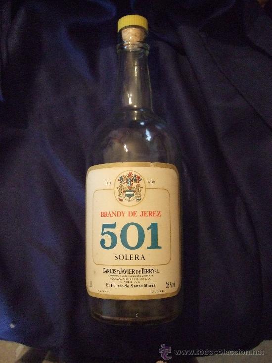 BOTELLA BRANDY DE JEREZ 501 - SOLERA - CARLOS Y JAVIER DE TERRY - PUERTO SANTA MARIA - 2 LITROS (Coleccionismo - Botellas y Bebidas - Botellas Antiguas)