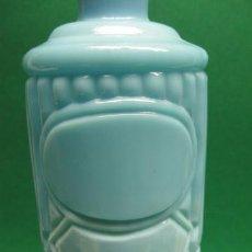 Botellas antiguas: ANTIGUA BOTELLA EN OPALINA AZUL TURQUESA, DE LICOR DE PP.SG.XX. MIDE 30 X 8 CM.. Lote 25310968