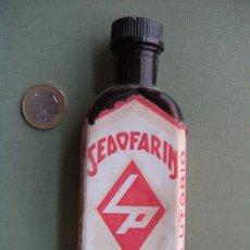 Botellas antiguas: FARMACIA. ANTIGUA BOTELLA SEDOFARIN LABORATORIOS PENSA - VALENCIA. Lote 25822569