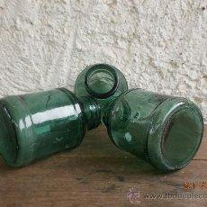 Botellas antiguas: 3 BOTES CRISTAL VERDE. Lote 27489986
