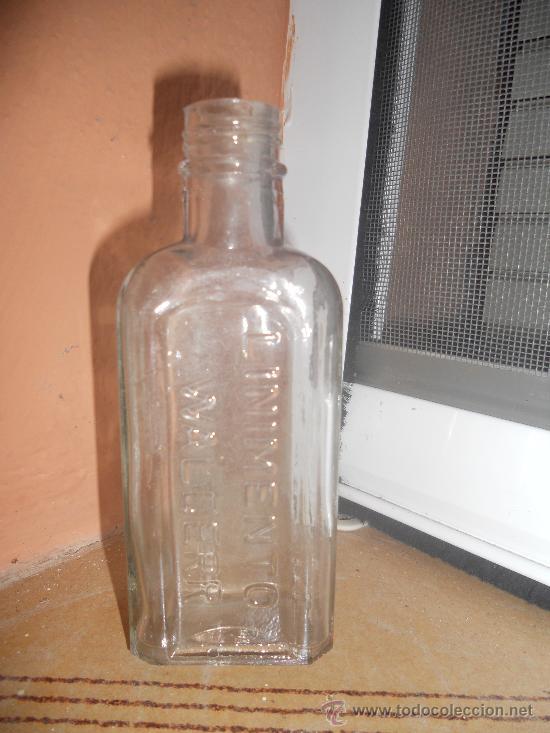 BOTELLA , EN RELIEVE LINIMENTO WALDERR, PEQUEÑA (Coleccionismo - Botellas y Bebidas - Botellas Antiguas)