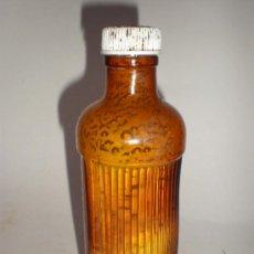 Botellas antiguas: BOTELLA FARMACIA *LABORATORIOS FAES* , COLOR AMBAR, RAYAS EN RELIEVE.. Lote 28293078