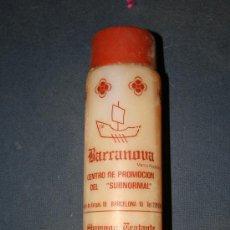 Botellas antiguas: BARCELONA. BOTE DE CHAMPU BARRANOVA.CAMPAÑA BARCANOVA PRO-SUBNORMAL. MIDE 20 X 5 CMS.. Lote 28668930