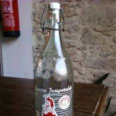 Botellas antiguas: BOTELLA DE GASEOSA LA BERGANTIÑANA. Lote 28753610