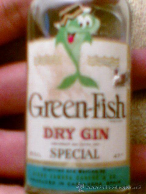 Botellas antiguas: Botellin Gin Ginebra Green Fish Diego zamora 5cl antigua - Foto 2 - 29155771