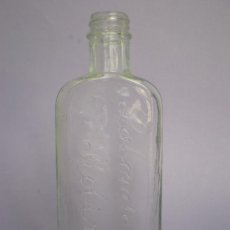 Botellas antiguas: BOTELLA FARMACIA LABORATORIOS ROBERT, LETRAS EN RELIEVE, TRANSPARENTE, 18 CMS. ALTURA. Lote 29677602