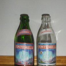 Botellas antiguas: 2 BOTELLINES DE AGUA MINERAL FONTEMILLA. CON Y SIN GAS.. Lote 30575688
