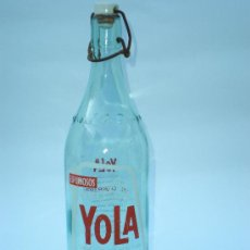 Botellas antiguas: BOTELLA GASEOSA ESPUMOSOS *YOLA* 1 LT. ALCOY-ALICANTE, SERIGRAFIADA. Lote 30765107
