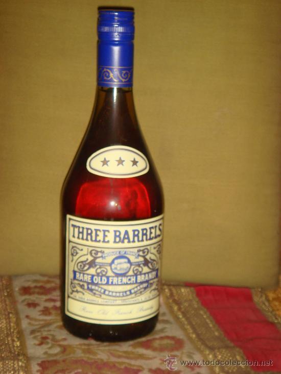 BRANDY THREE BARRELS, TAPÓN ROSCA (Coleccionismo - Botellas y Bebidas - Botellas Antiguas)