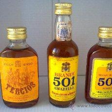 Botellas antiguas: LOTE 3 BOTELLAS MINIATURA BRANDY.MINI BOTELLAS.ANTIGUAS.LLENAS.BOTELLITA.. Lote 56942031