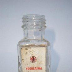 Botellas antiguas: BOTELLA FARMACIA *YODOCAINAL* ETIQUETA, LABORATORIOS BILBO, S.A. LETRAS RELIEVE FABRICANTE EN BASE. Lote 34746085