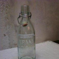 Botellas antiguas: BOTELLA GASEOSA .GASEOSAS BRAÑA .PUENTECESURES (PONTEVEDRA). Lote 34962399