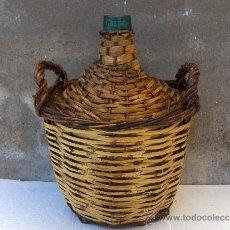 Botellas antiguas: GARRAFA CRISTAL FORRADA DE CAÑA VIRESA ALTO 40 DIAMETRO 30. Lote 35714823