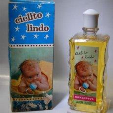 Botellas antiguas: FRASCO DE JABÓN LIQUIDO CIELITO LINDO 200 ML APROX. AÑOS 40. Lote 36800500
