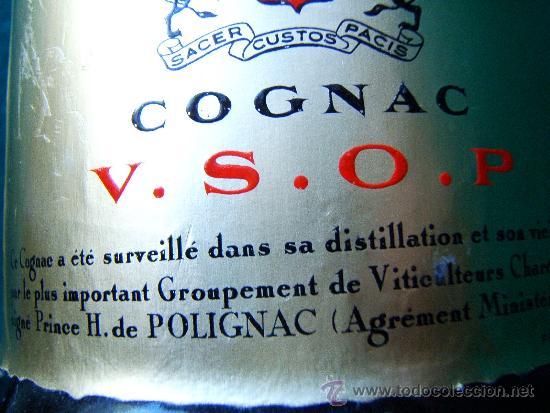 Botellas antiguas: PRINCE HUBERT DE POLIGNAC - COGNAC - BOTELLA 75 CC - FRANCIA V.S.O.P. - SIN ABRIR - DECADA 1960 ? - Foto 3 - 36922367