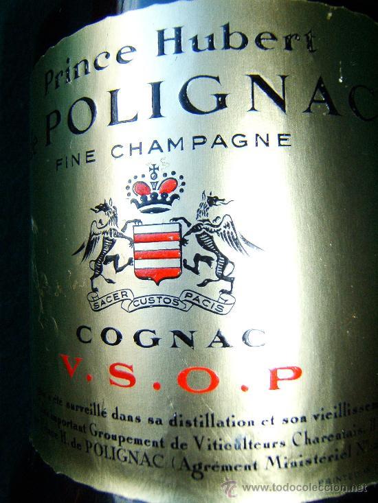 Botellas antiguas: PRINCE HUBERT DE POLIGNAC - COGNAC - BOTELLA 75 CC - FRANCIA V.S.O.P. - SIN ABRIR - DECADA 1960 ? - Foto 4 - 36922367