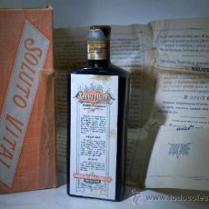 Botellas antiguas: FRASCO DE FARMACIA JARABE SOLUTO VITAL // CRISTAL AZUL CON CAJA ORIGINAL Y PROSPECTO . Lote 61602343