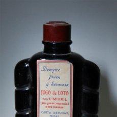 Botellas antiguas: FRASCO DE JUGO DE LOTO INTEA AÑOS 40 FARMACIA // LLENO DE VENTA EN FARMACIAS DOGUERÍA Y PERFUMERIA. Lote 37209398