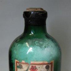 Botellas antiguas: FRASCO DE FARMACIA GRANDE DE CLORURO DE CALCIO PURO // CRISTAL VERDE. Lote 37610938