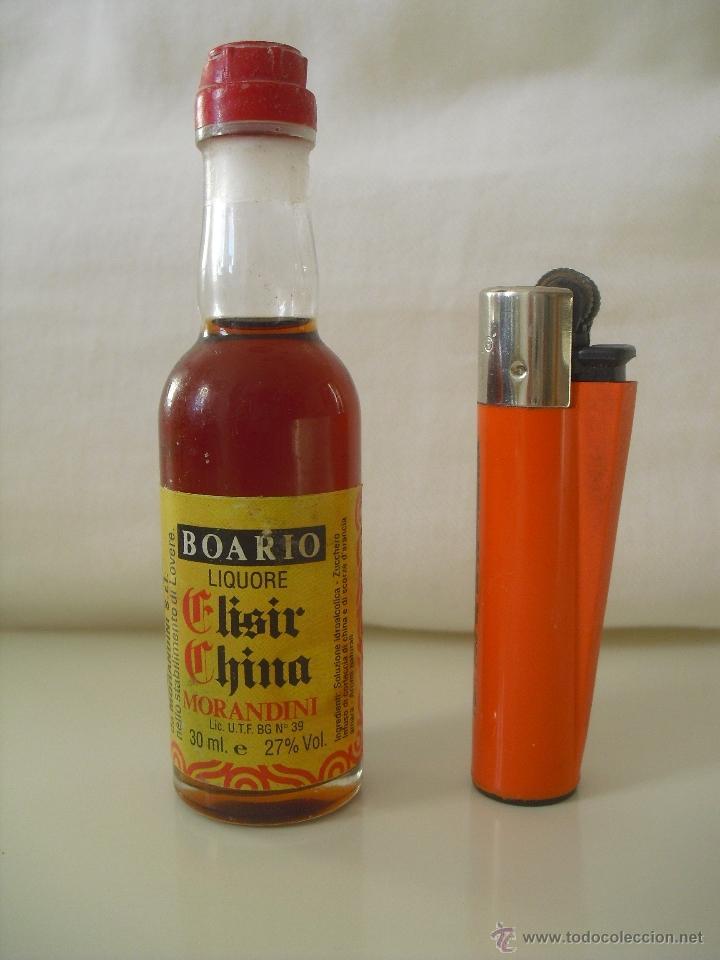 MINI BOTELLA, BOTELLIN EN MINIATURA. BOARIO ELISIR CHINA. MORANDINI ELIXIR . BOTELLITA. MINIBOTELLA. (Coleccionismo - Botellas y Bebidas - Botellas Antiguas)