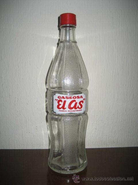 ANTIGUA BOTELLA DE GASEOSA EL AS. FABRICANTE Nº 1002. CAPACIDAD 1 LITRO (Coleccionismo - Botellas y Bebidas - Botellas Antiguas)