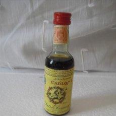 Botellas antiguas: MINI BOTELLA, BOTELLIN MINIATURA CARLOS I SOLERA ESPECIAL PEDRO DOMECQ. BOTELLITA.MINIBOTELLA.. Lote 42351331