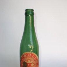 Botellas antiguas: BOTELLA CERVEZA *LA ESTRELLA DE GIJON* 33 CL. ESPECIAL, CRISTAL VERDE, ETIQUETA, SUARDIAZ Y COMPAÑIA. Lote 42870506