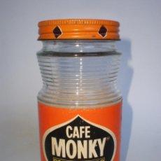 Botellas antiguas: BOTE CAFE *MONKY* DESCAFEINADO, 100 GR. TAPA METÁLICA, AÑOS 70. Lote 43207469