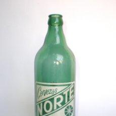 Botellas antiguas: -RARO TAMAÑO- BOTELLA CERVEZA *NORTE* 66 CL.SERIG.RELIEVE BASE:CERVEZAS CERVECERA DEL NORTE-BILBAO. Lote 44674629