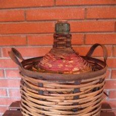 Botellas antiguas: GARRAFA VIRESA 10 L FORRADA DE MIMBRE Y ESTRUCTURA DE METAL. Lote 45028833