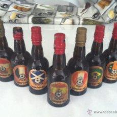 Botellas antiguas: LOTE DE 12 MINI BOTELLAS DE VINO DE JEREZ, CONMEMORATIVAS DEL MUNDIAL DE FUTBOL ESPAÑA 82. SIN ABRI. Lote 45555283