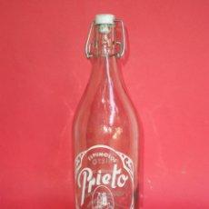Bottigglie antiche: BOTELLA GASEOSA-ESPUMOSOS *PRIETO* 1 LT. SACEDON (GUADALAJARA) SERIGRAFIADA. Lote 45582800