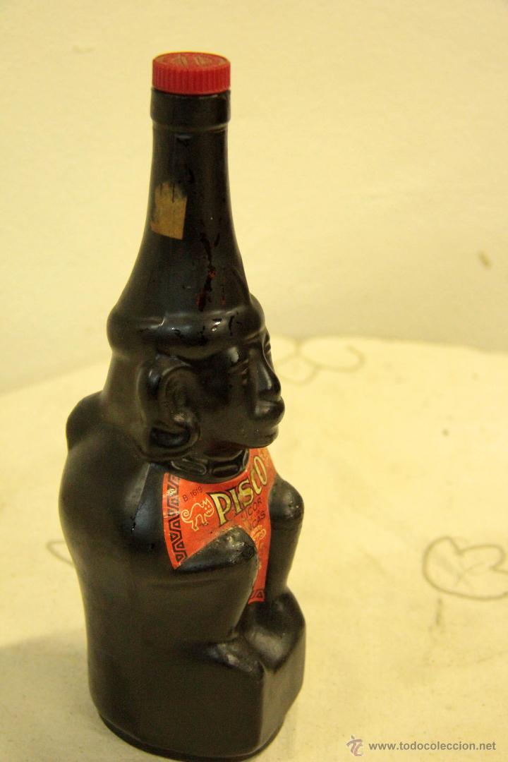 Botellas antiguas: BOTELLA DE LICOR. PISCO LICOR DE LOS INCAS. CRISTAL ESTUCADO. MED S XX. - Foto 2 - 46438499