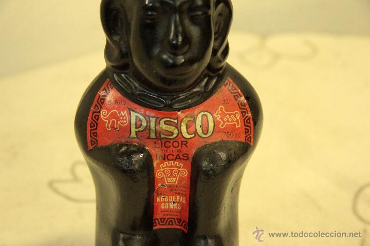Botellas antiguas: BOTELLA DE LICOR. PISCO LICOR DE LOS INCAS. CRISTAL ESTUCADO. MED S XX. - Foto 3 - 46438499