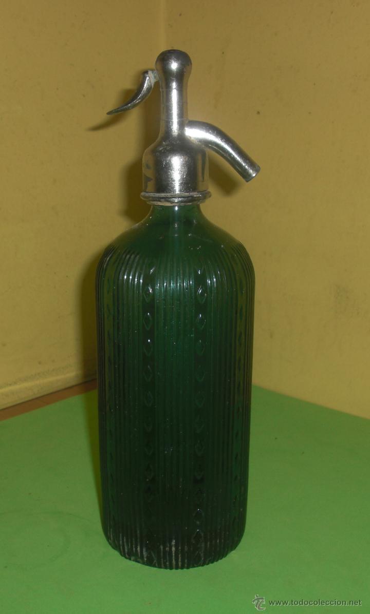VILELLA VIUDAS CIA. ANTIGUO SIFON CON CABEZAL DE PLOMO (CABEZAL R. TAFALLA) (Coleccionismo - Botellas y Bebidas - Botellas Antiguas)