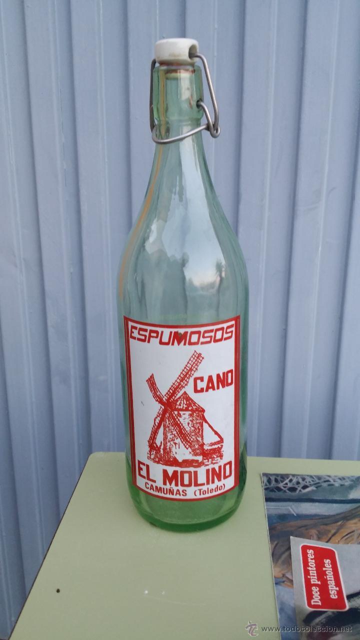 ANTIGUA BOTELLA DE GASEOSA, ESPUMOSOS CANO, EL MOLINO, CAMUÑAS TOLEDO (Coleccionismo - Botellas y Bebidas - Botellas Antiguas)