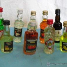 Botellas antiguas: 10 BOTELLAS PEQUEÑITAS DE LICOR. Lote 47880650