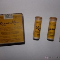 Botellas antiguas: MEDICAMENTO HIPOSULFÍN FRASQUITOS DE CRISTAL CON TAPÓN DE CORCHO INDUSTRIAL FARMACEÚTICO CANTABRIA. Lote 48913582