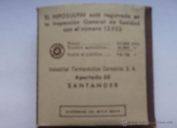Botellas antiguas: Medicamento Hiposulfín frasquitos de cristal con tapón de corcho Industrial Farmaceútico Cantabria - Foto 2 - 48913582