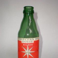 Botellas antiguas: CERVEZA CERVECERA DEL NORTE-CLARA, 25 CL.-MOD.2- ETIQUETA, LETRAS EN RELIEVE EN BASE, VIDRIO VERDE. Lote 49194944