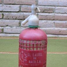 Botellas antiguas: SIFON ANTIGUO : EL LAUREL DE BACO - MADRID -CRISTAL SERIGRAFIADO.. Lote 49301694