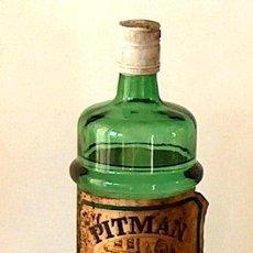 Botellas antiguas: BOTELLA PITMAN GIN, 1 LITRO APROX. CON LIQUIDO, SIN ABRIR. Lote 51549117