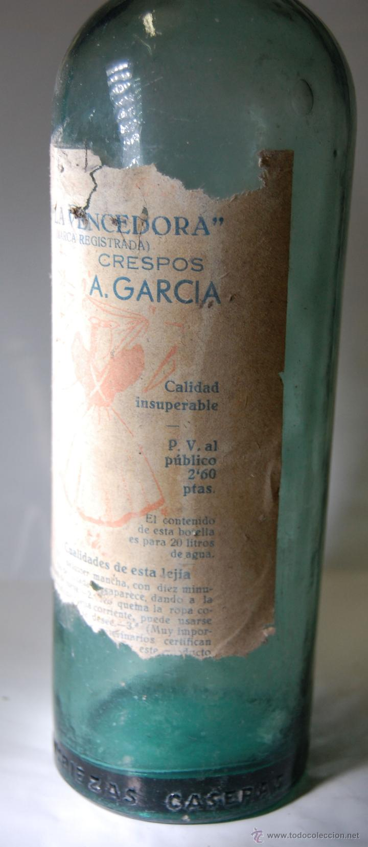 Botellas antiguas: BOTELLA DE LEJÍA LA VENCEDORA CRESPOSA A. GARCÍA // AÑOS 40 - Foto 2 - 51710568