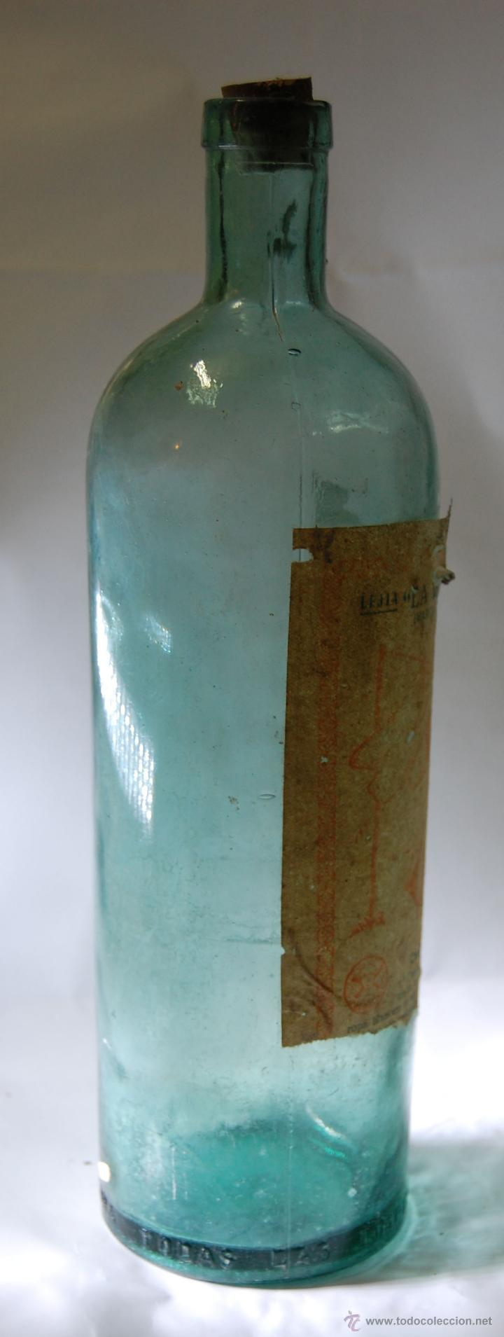 Botellas antiguas: BOTELLA DE LEJÍA LA VENCEDORA CRESPOSA A. GARCÍA // AÑOS 40 - Foto 3 - 51710568