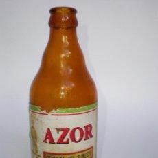 Botellas antiguas: BOTELLA CERVEZA *AZOR* TERCIO, ETIQUETA, CARTAGENA-MURCIA, AÑOS 70. Lote 51765627