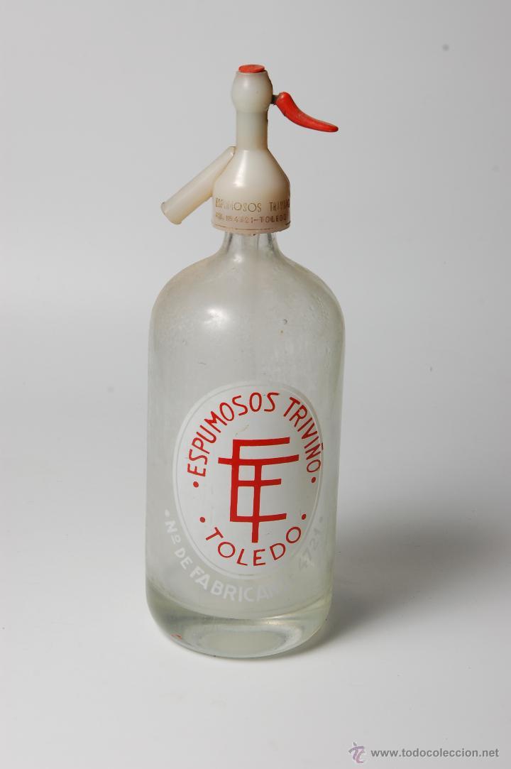 VIEJA BOTELLA DE SIFÓN DE ESPUMOSOS TRIVIÑO EN TOLEDO (Coleccionismo - Botellas y Bebidas - Botellas Antiguas)