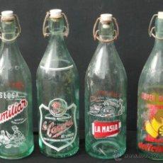 Botellas antiguas: 4 BOTELLAS DE GASEOSA VACIAS.. Lote 53979356