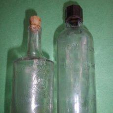 Botellas antiguas: LOTE ANTIGUA BOTELLA CRUSELLAS HERMANOS FLORA CUBANA LA HABANA RON QUINA LOCION CABELLO BARBERIA. Lote 54079984